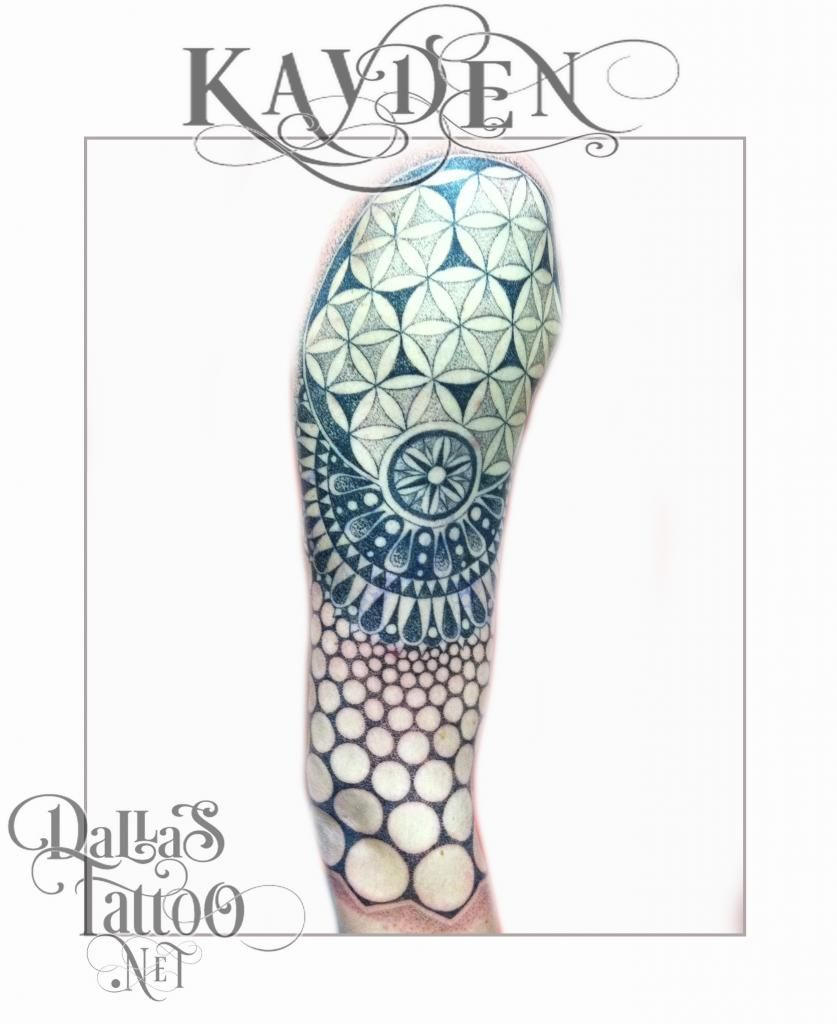 geometric flower tattoo color - photo #31