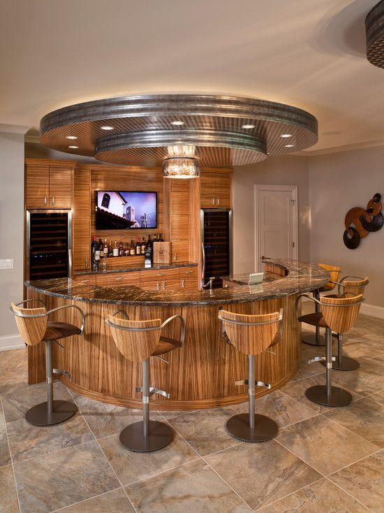 Bar Ideas Contemporary Home Bar Design With Semi Circle Shaped Also Brown Marble Countertop And Brown Wood Vene Home Bar Counter Home Bar Designs Diy Home Bar
