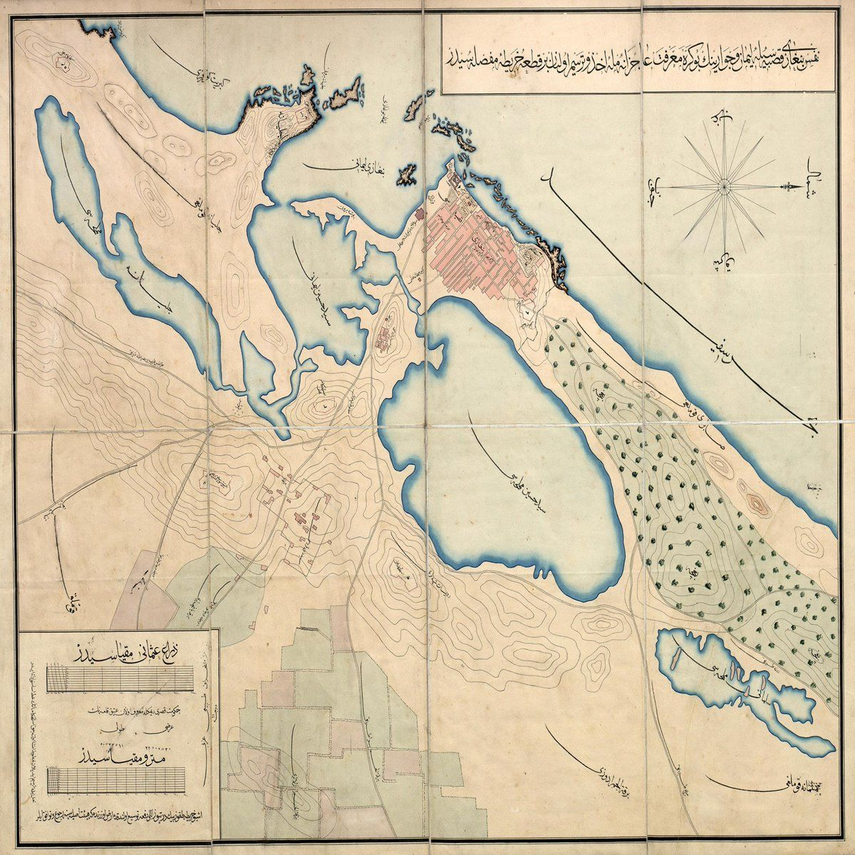 An Ottoman Map of Benghazi Libya Scale 11300 m c1900 Osmanl
