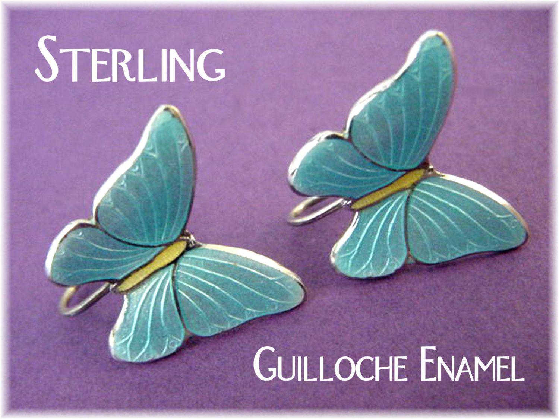 Guilloche Enamel Sterling Silver Blue Butterfly Screw Back Earrings - Denmark Norway - Pennsylvania Estate Antique - FREE SHIPPING