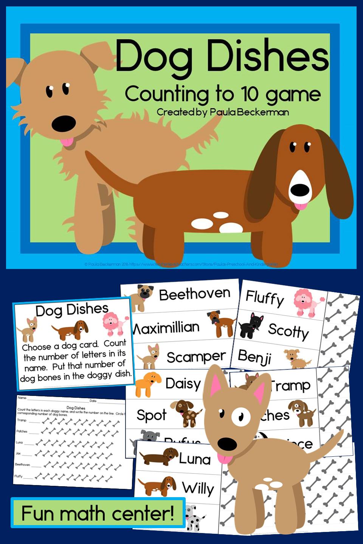 A Fun Dog Themed Counting Game For Preschool And Kindergarten Students Tpt Fun Math Centers Dog Dish Fun Math