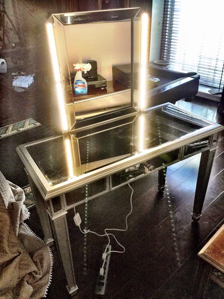 My husband made this makeup vanity for my daughter. The lighter ...
