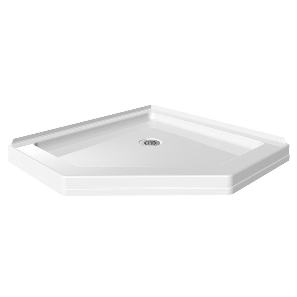 Neo Angle Single Threshold Shower Base In White 422062   The Home Depot