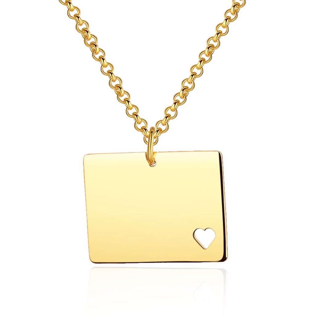 I heart wyoming state map necklace wyoming pendant