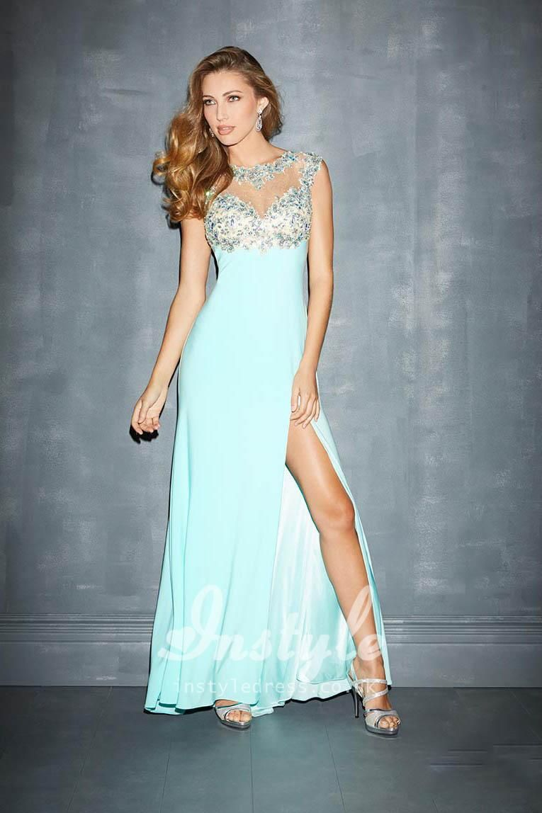 illusion jewel neck keyhole back baby blue prom dress with side ...