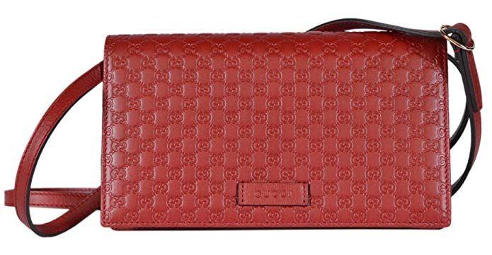 976d3afcf7f96e Gucci Women's Leather Micro GG Guccissima Crossbody Mini Wallet Purse Bag ( Red) designer handbags