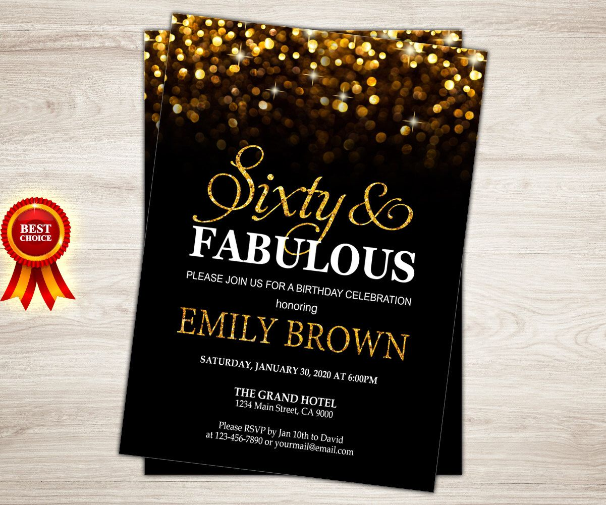 Surprise 60th Birthday Invitation For Women Sixty And Fabulous Gold Glitter Bokeh Printable