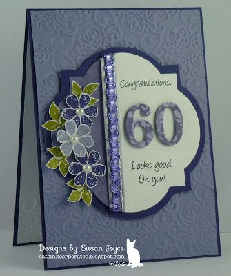 Gorgeous Embossed 60th Birthday CardSusan Joyce Cats InkCorporated