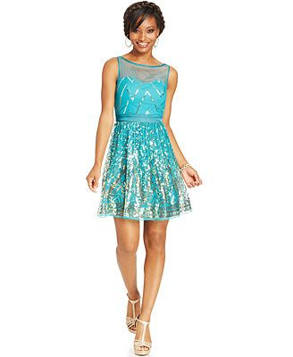Ruby Rox Juniors' Sequin A-line Dress they have it in black and gold!!!!!!!!!
