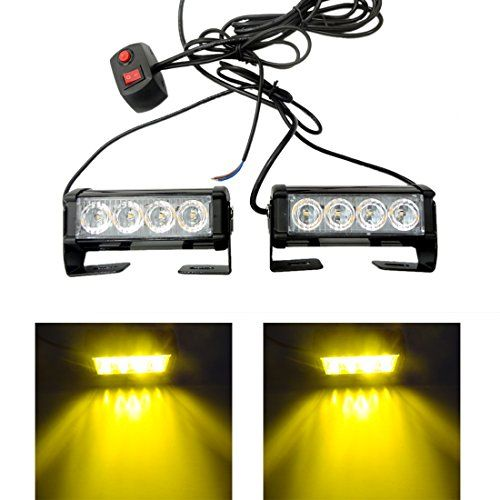 Yehard 4 Led Strobe Lights For Trucks Cars 12v Universal Amber Waterproof Emergency Light Http Ledlight Strobe Lights For Trucks Strobe Lights Led Strobe