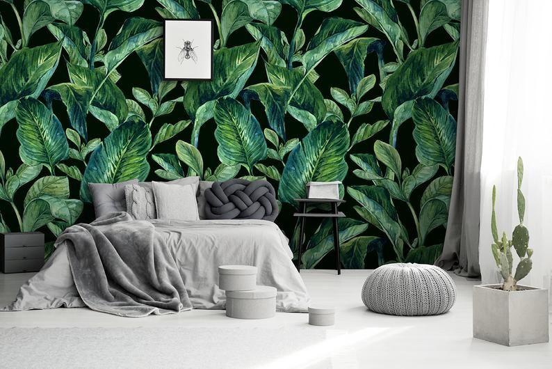 Beautiful Dark Green Banana Leaves On The Black Bacground Etsy Wall Decor Wall Murals Wallpaper Furniture