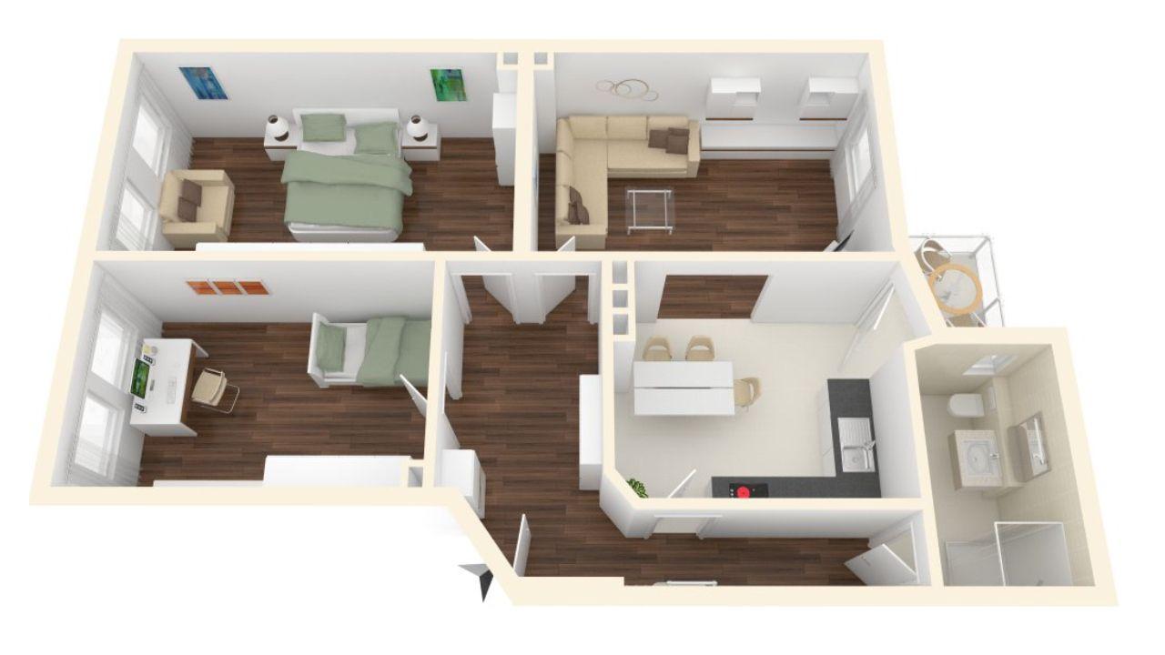 3 d modell mit einrichtungsidee dieser frisch sanierten 3 zimmer altbau wohnung in hannover list. Black Bedroom Furniture Sets. Home Design Ideas