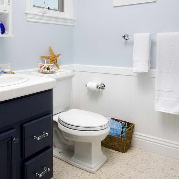 Wainscoting In Bathroom Ideas With Pale Blue Wall Gorgeous How To End Wainscoting In Bathroom