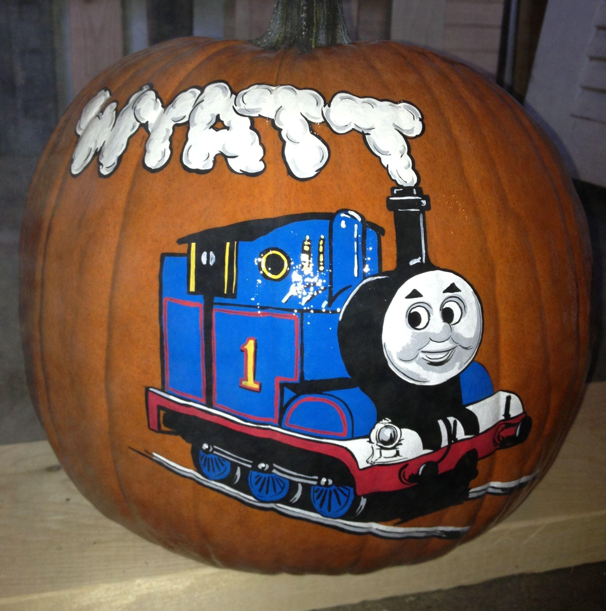 Thomas The Train Pumpkin Pumpkin Decorating Pumpkin Stencil Painted Pumpkins