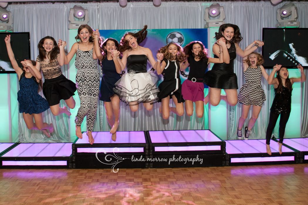 Copyright 2015 Linda Morrow Photography, meadowlands country club, blue bell pa A jumping shot tradition between the bat mitzvah girl and her friends.  They do this at each girl's bat mitzvah!