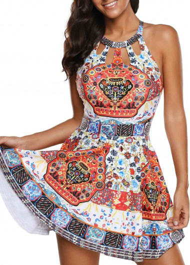 5986868999a Printed Cutout Front H Back Swimdress and Shorts on sale only US$33.57 now,  buy cheap Printed Cutout Front H Back Swimdress and Shorts at Rosewe.com