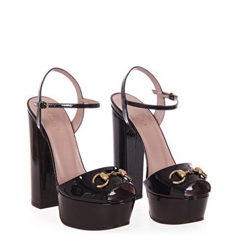 Gucci Black Patent Leather Platform Sandals Zapatos De Lujo Zapatos Zapatos De Tacon