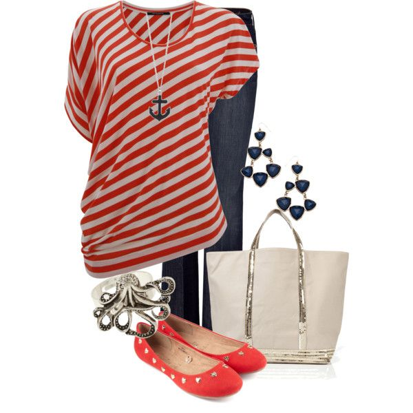 Red and white diagonal striped top, denim, anchor pendant