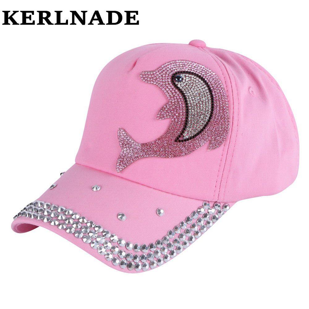 Wholesale Girl Boy Fashion Cap Brand Hats Pink Rhinestone Dolphin Character Design Children Baseball Caps Kids Cute Snap With Images Fashion Cap Boy Fashion Kids Baseball
