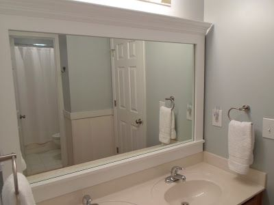 Cheriesparetime Frame A Mirror With Clips Very Smart Idea Add Crown Molding To Hide Clips