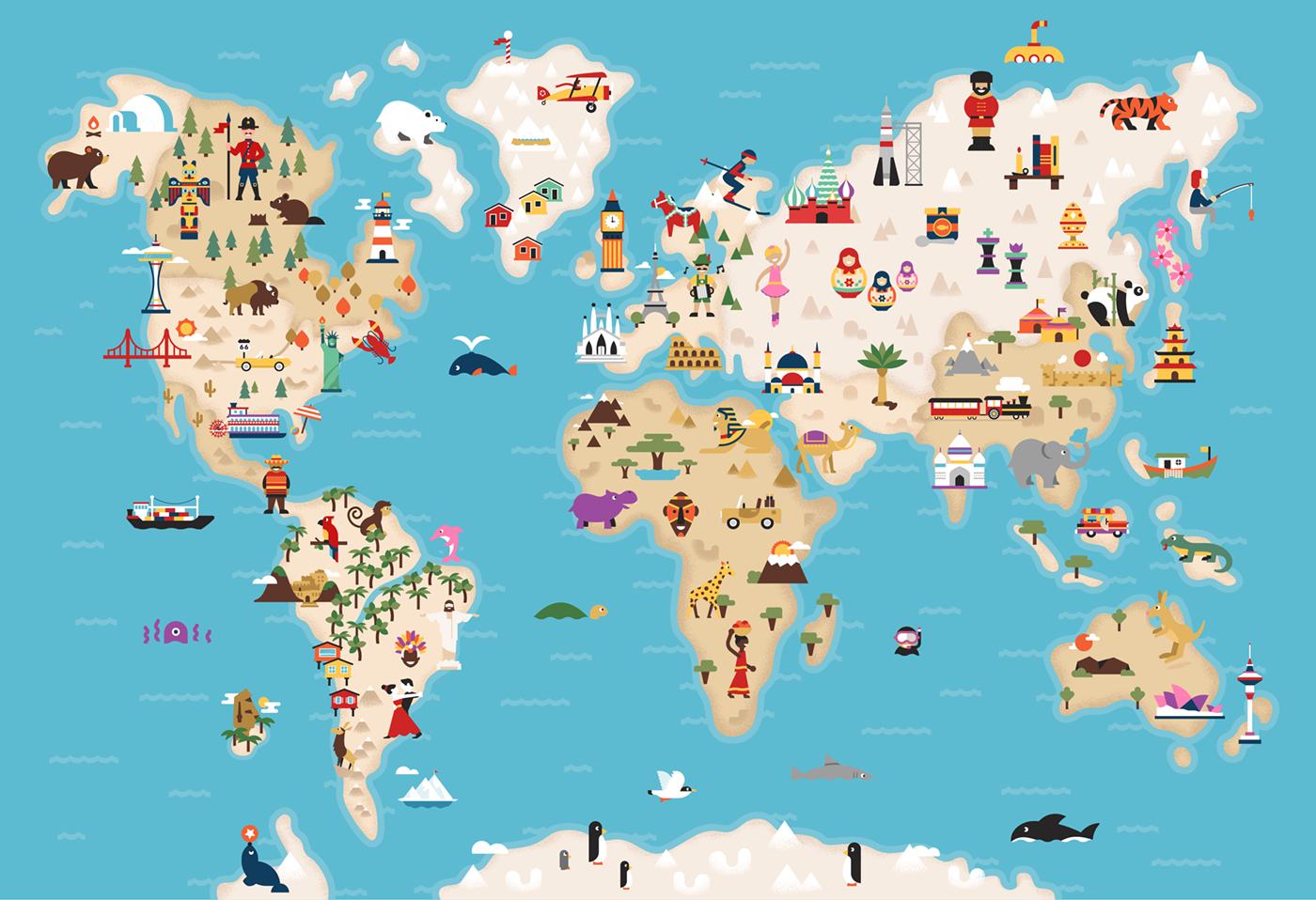 Illustratedworldmapfull Png By Dangerdom World Map World Map
