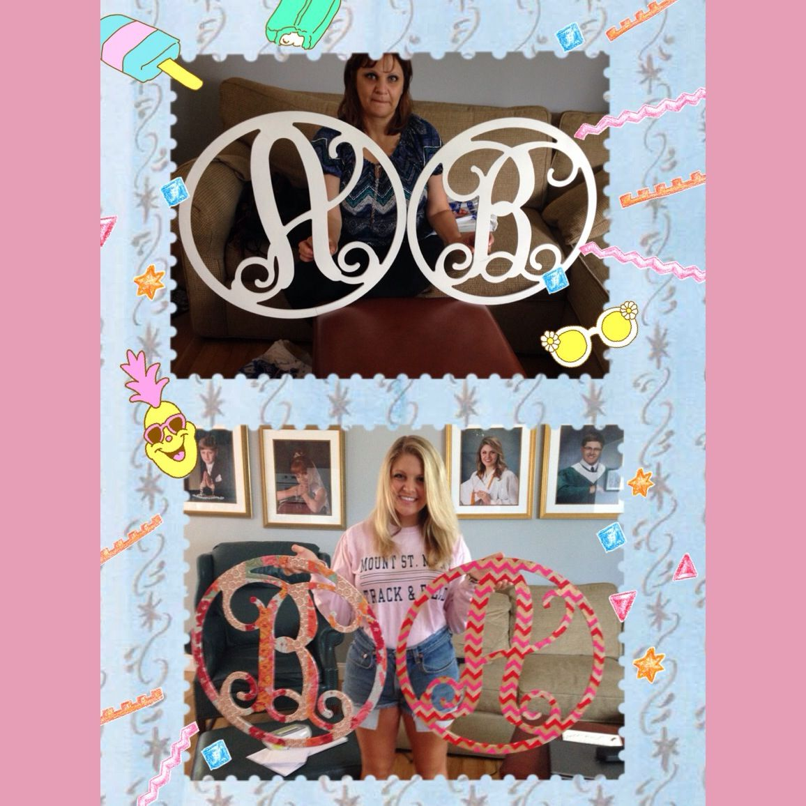 Monogram letters. Bought them on clearance at Hobby Lobby. Paper from the paper store in Princeton.  Mod Podge fun with Bridget.  For her and her roommate.