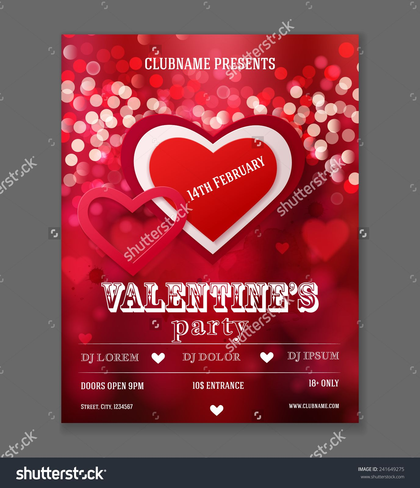 valentines day party flyer design vector template of invitation flyer poster or greeting