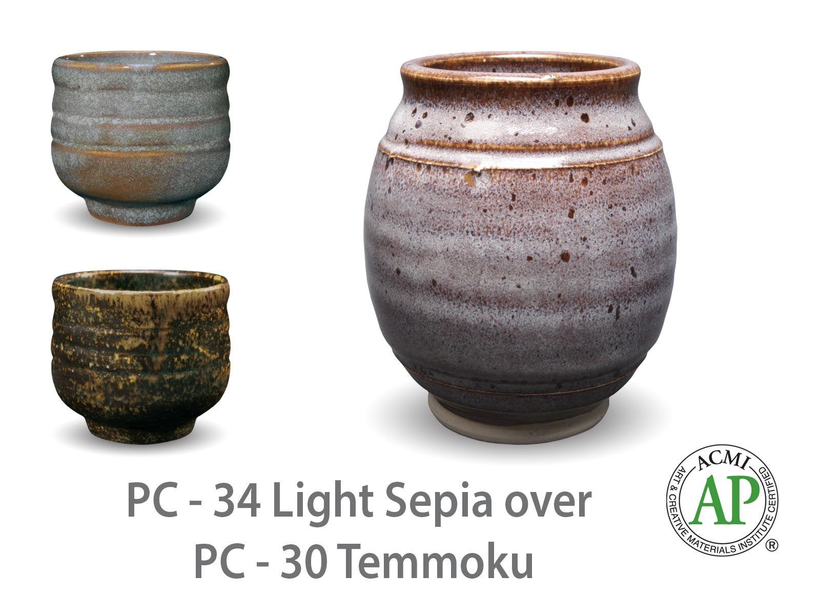AMACO Potter's Choice layered glazes PC-30 Temmoku and PC-34 Light Sepia.