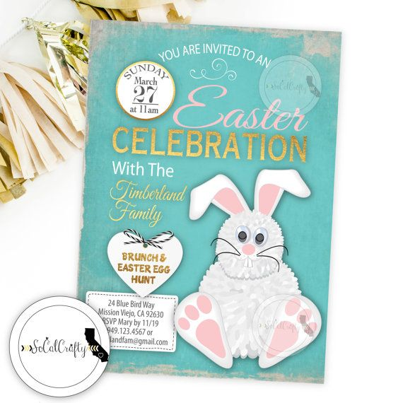Easter Invitation / Easter Brunch Invitation / Easter Egg Hunt Invite by SoCalCrafty. Printed or Printable. $16+