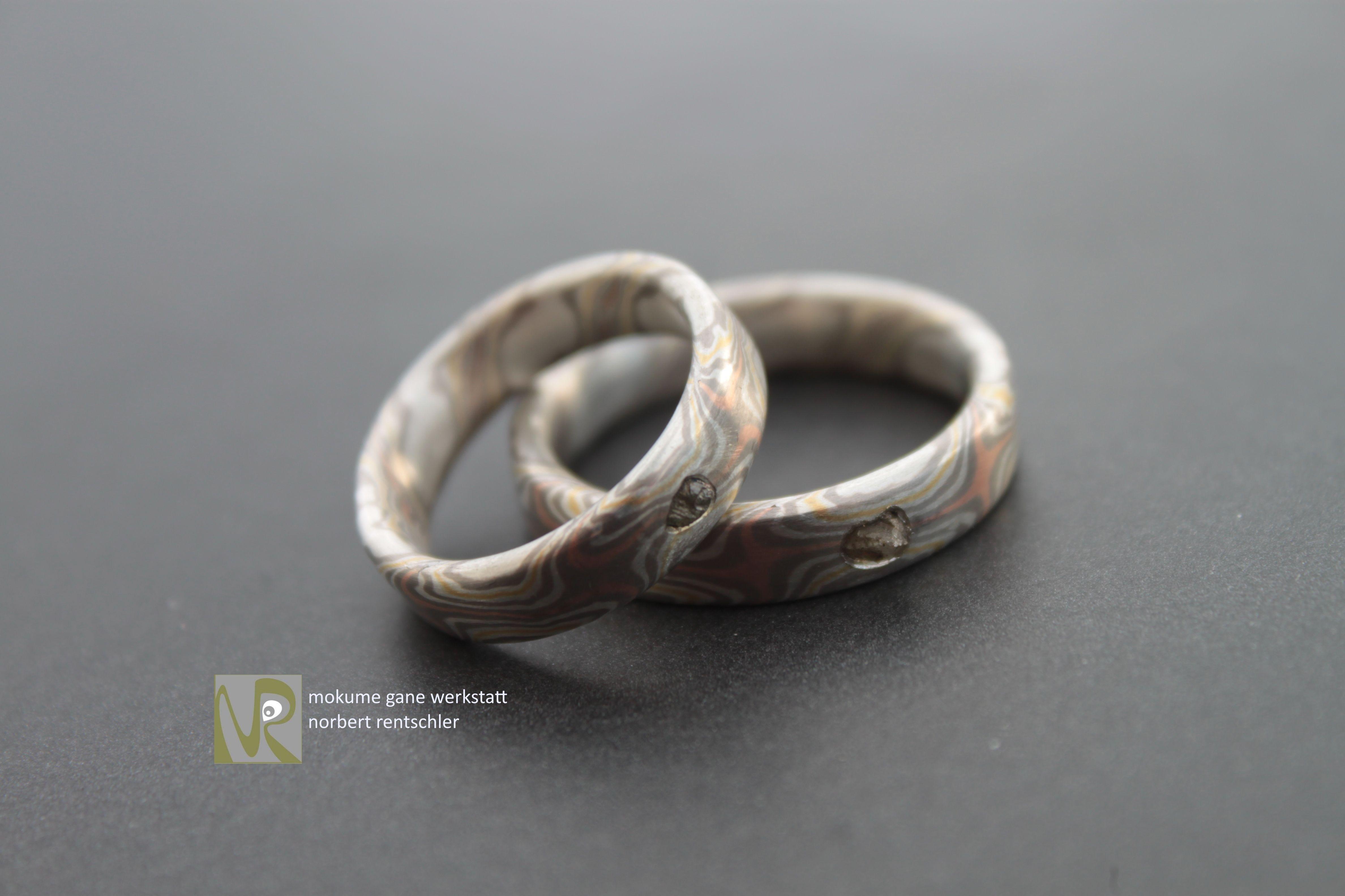 E62 Ausgefallene Trauringe Mokume Gane Rohdiamanten Trauringe Diamanten Ringe Silber