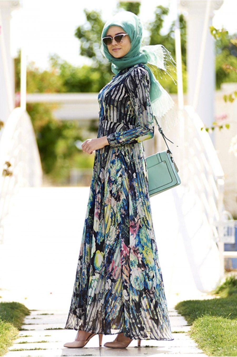 Zarif Tesettur Sifon Elbise Modelleri Sifon Elbise Elbise Modelleri Elbise