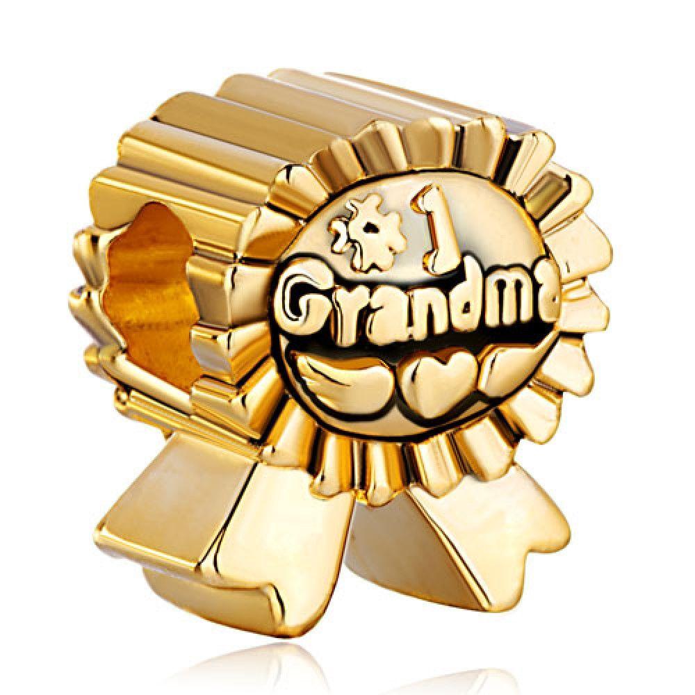22k Golden Plated Medal Number Grandma European Love Charm Beads Pandora Chamilia Compatible Bead Charms Bead Charm Bracelet Mom Charm