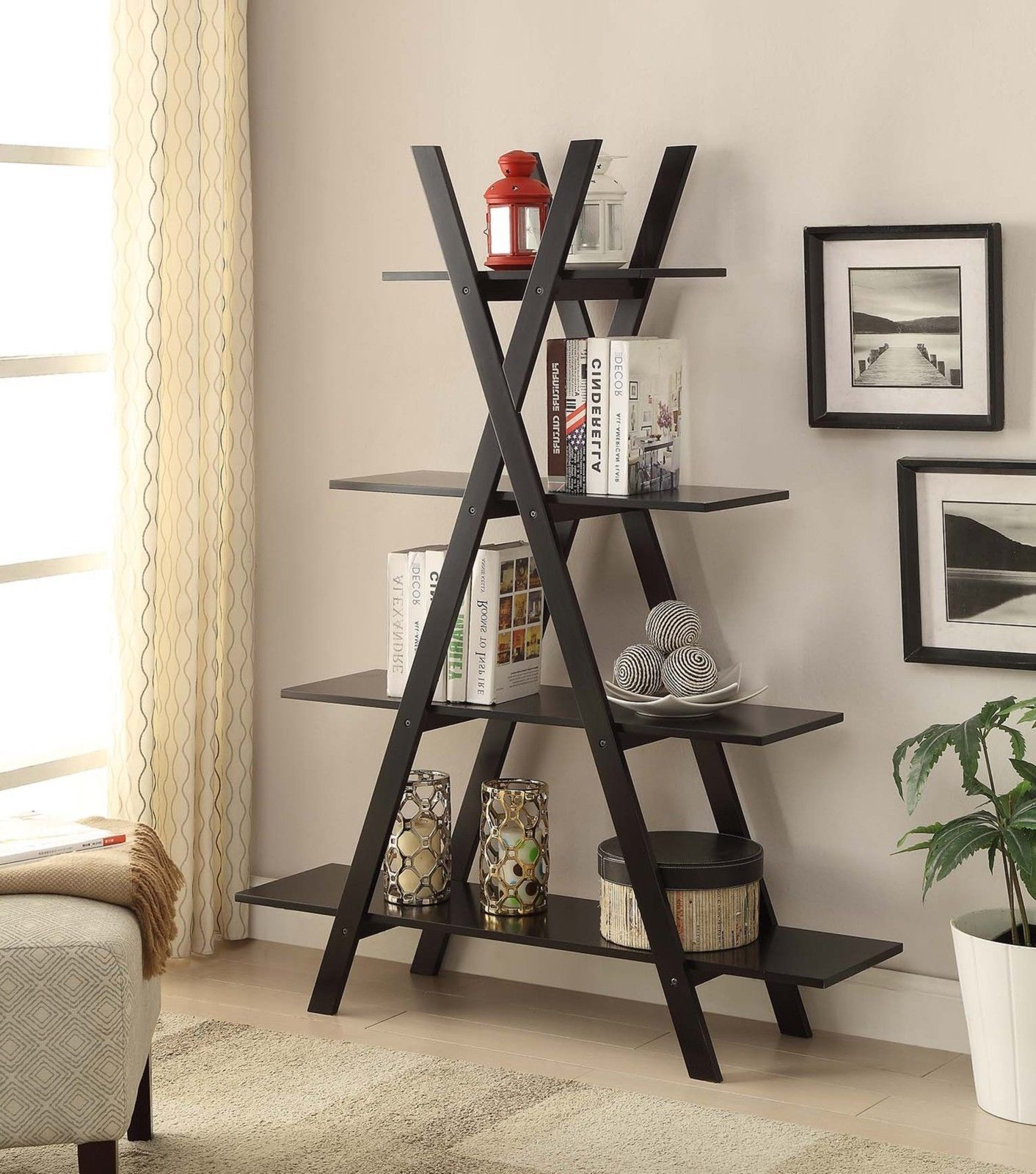 Black tier bookcase bookshelf leaning wall ladder wood display