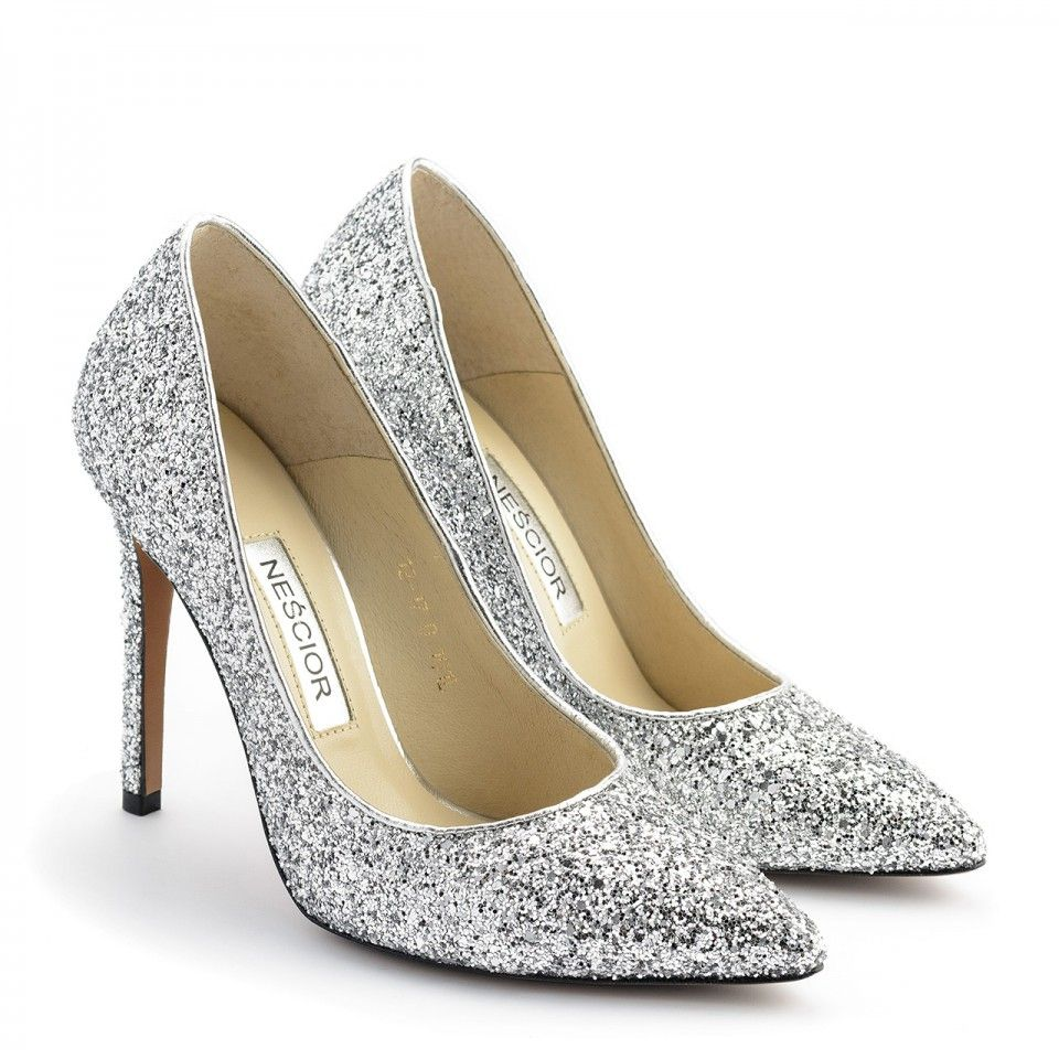 Klasyczne Srebrne Brokatowe Szpilki 101l Nescior Sklep Firmowy Heels Shoes Pumps