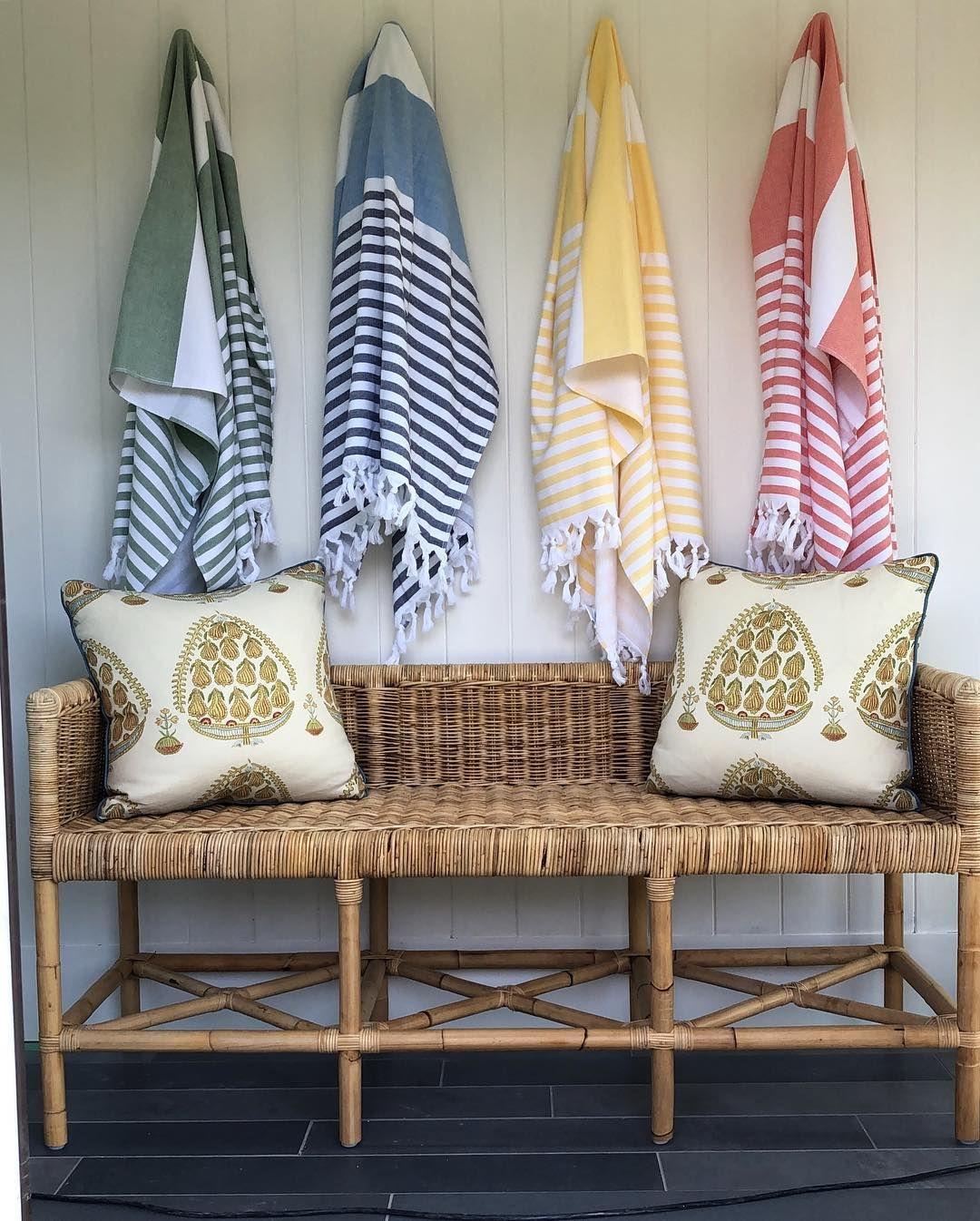 Henry u co design beach towels rattan bench designer spotlight