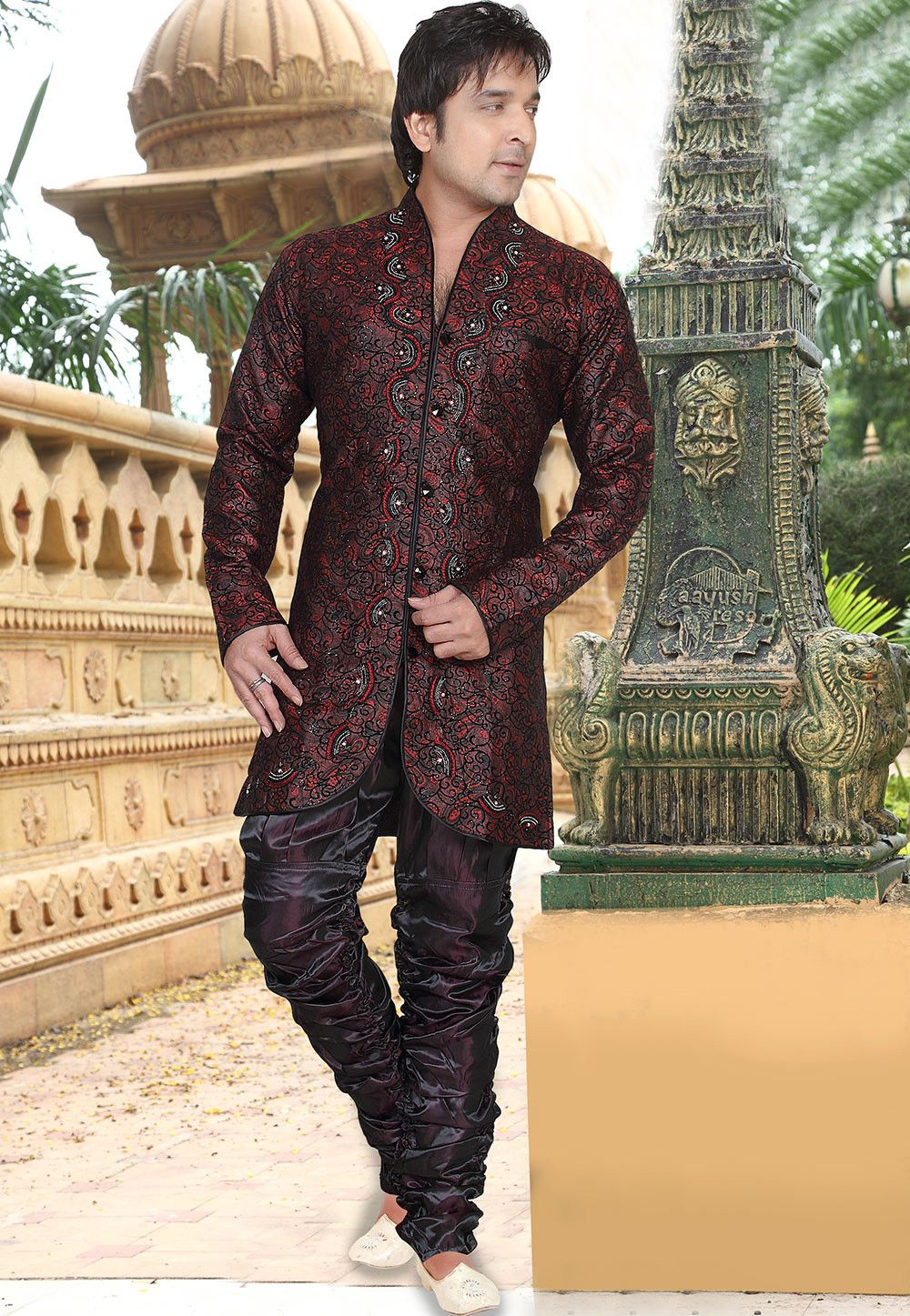 Embroidered jacquard sherwani in maroon clothing u costumes