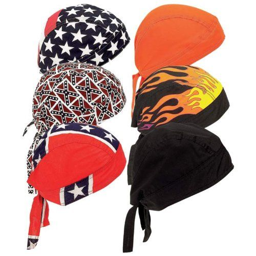 dd02b9626e6 nice Motorcycle Biker Skull Caps   Head Wrap Do Rags   Bandanas   Hats –  6pc Set Assorted