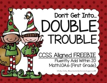 Here's a fun little Holiday math center to help children master those doubles to 20. Students play against themselves or a partner and race to roll all of their double facts!  It's pretty straight forward, but the silly game board will keep 'em hooked in and learning!