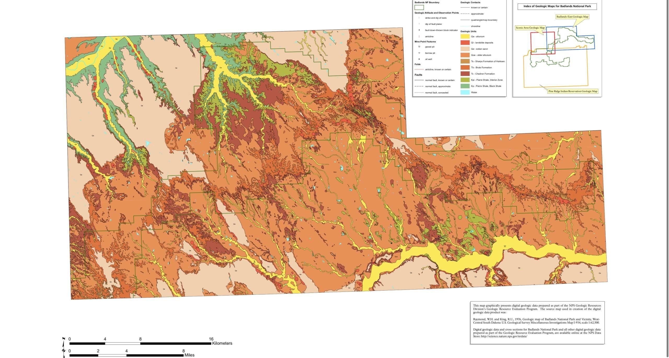 Geological Map of Badlands National Park South
