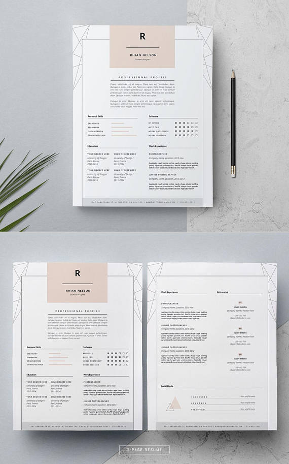 Creative Resume Template \ Cover Letter MS Word Resume 3 Page - 3 page resume