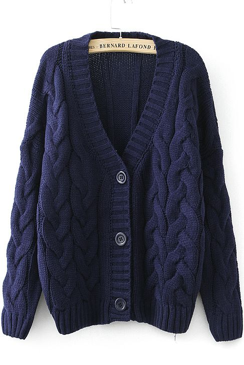 Navy Long Sleeve Cable Knit Cardigan | Cable knit cardigan, Cable ...