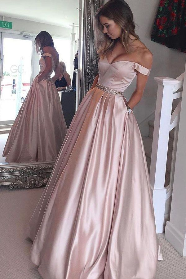 A Line Off The Shoulder Floor Length Pearl Pink Prom Dress With