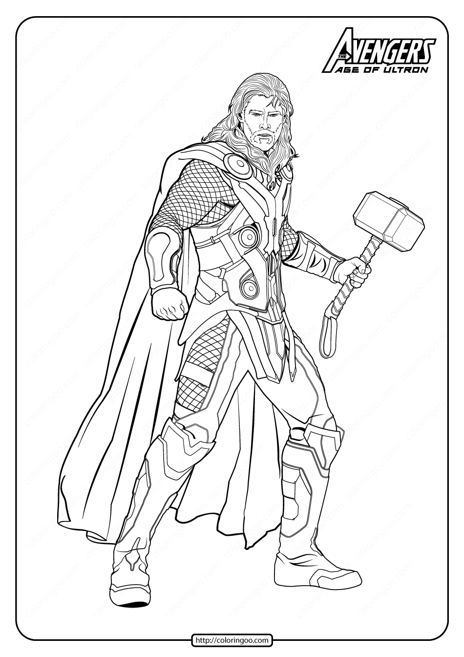 Marvel The Avengers Thor Pdf Coloring Pages In 2020 Superhero Coloring Pages Marvel Coloring Avengers Painting