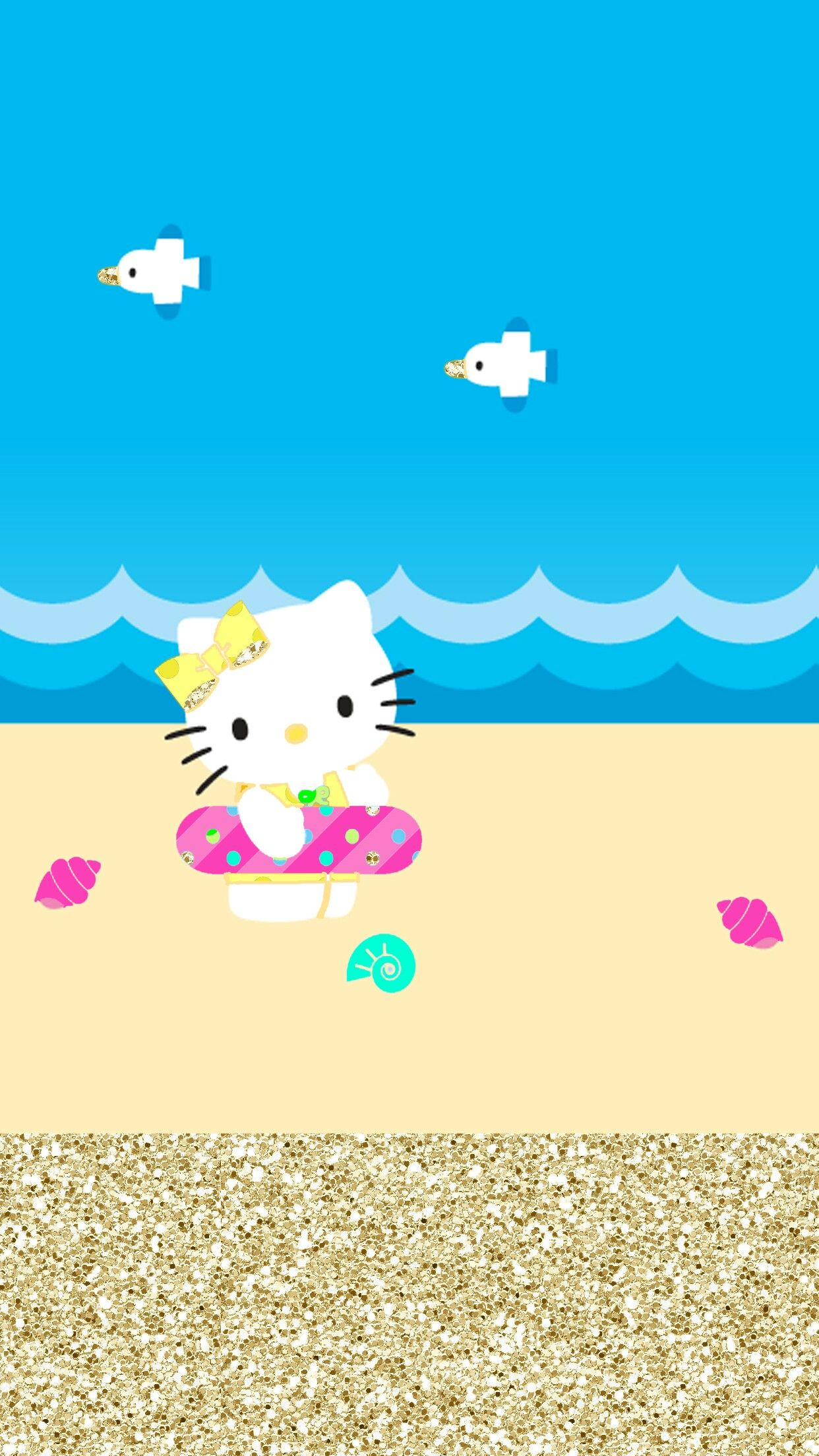 Homescreen, Wallpapers, Wallpaper Backgrounds, Patterns, Beach, Hello Summer, Hello Kitty,