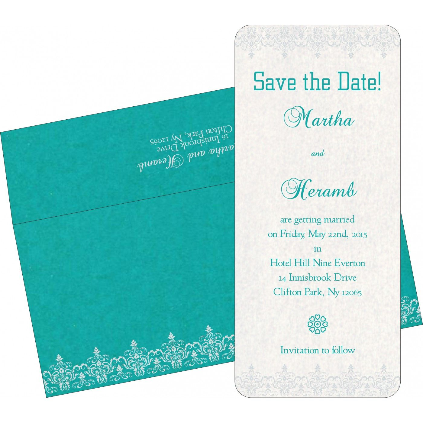 Blue Shimmery Screen Printed Wedding Invitations In 8244c