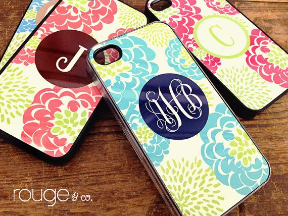 iPhone or Galaxy cover  peony pattern in custom by rougeandco, $28.00