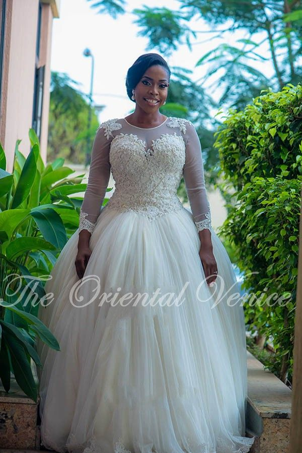 8d851f7adc Custom Made Ball Gown African Wedding Gowns Plus Size Long Sleeves Lace  Appliques Beaded Nigerian Wedding