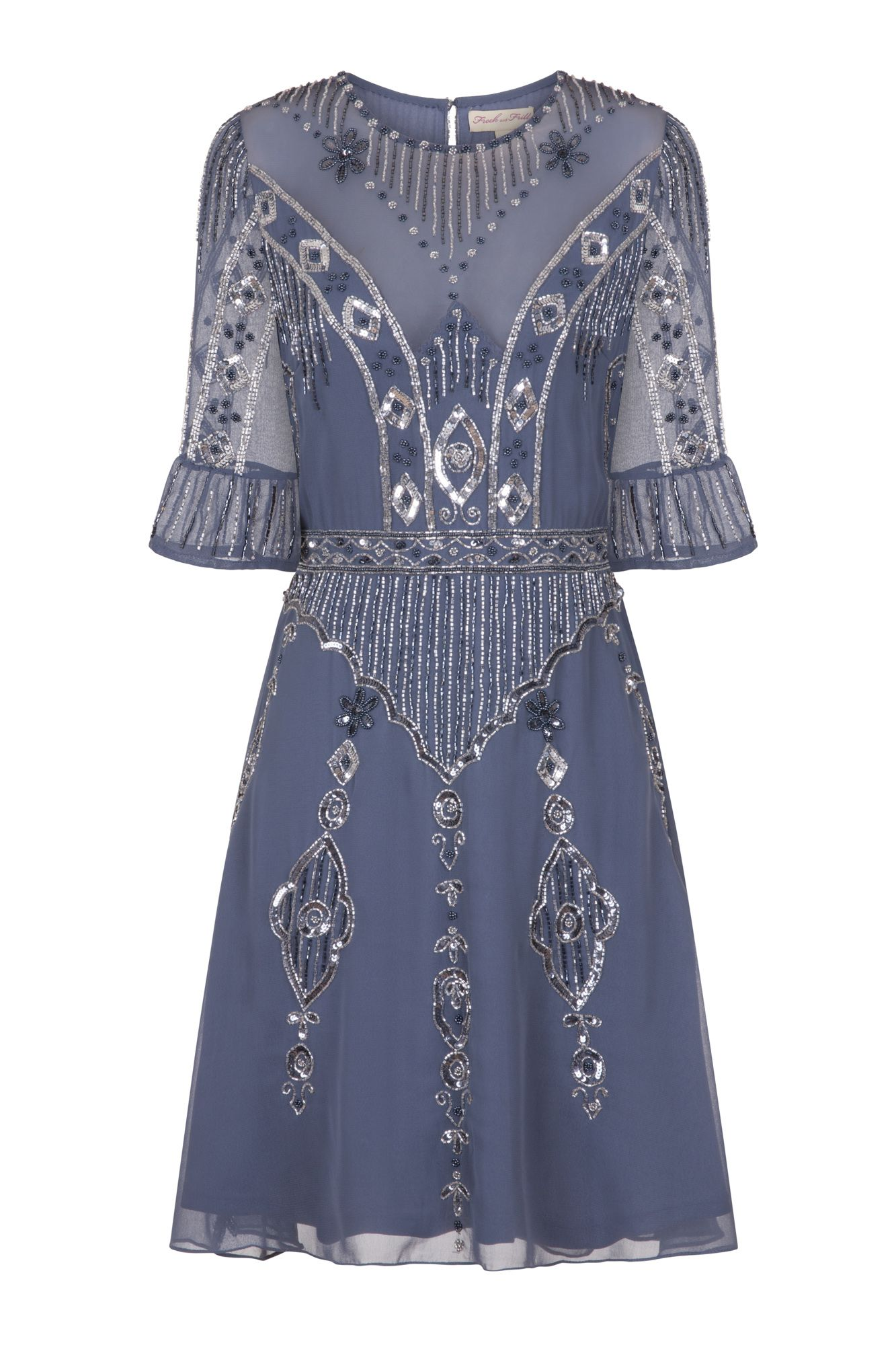 85614a5e4 Frock and Frill Daria Capped Sleeve Blue Grey Embellished Mini Dress