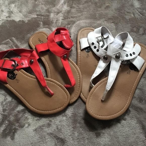 2 pairs of Rue 21 sandals Two for the price of one! Red and white sandals size SMALL (6-7) Rue 21 Shoes Sandals