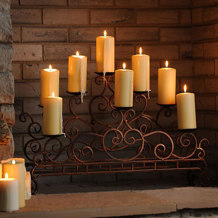 scrolled copper fireplace candelabra fireplace
